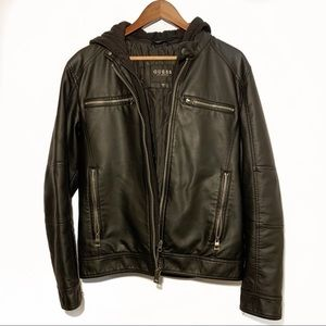 Guess Men's Faux Leather Jacket Size Small